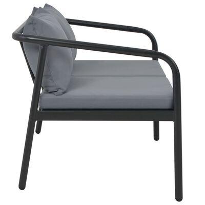 vidaXL Canapea de grădină cu 2 locuri, cu perne, gri, aluminiu