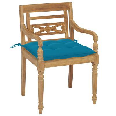 vidaXL Scaune Batavia, perne albastru deschis, 2 buc., lemn masiv tec