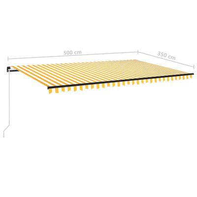 vidaXL Copertină retractabilă manual cu LED, galben și alb, 500x350 cm