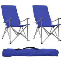 vidaXL Scaune de camping pliabile, 2 buc., albastru
