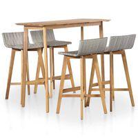 vidaXL Set mobilier de exterior, 5 piese, lemn masiv de acacia