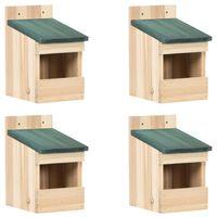vidaXL Căsuțe de păsărele, 4 buc. 12x16x20 cm, lemn de brad
