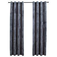 vidaXL Draperii opace cu inele, 2 buc., antracit, 140x245 cm, catifea