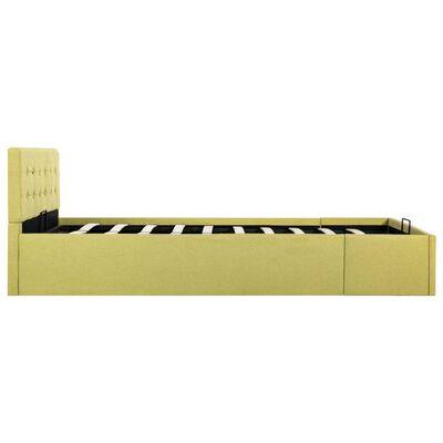 vidaXL Cadru pat hidraulic cu ladă, galben lime, 120 x 200 cm, textil