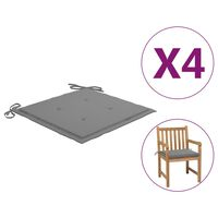 vidaXL Perne scaun de grădină, 4 buc., gri, 50x50x4 cm, textil