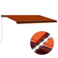 vidaXL Copertină retractabilă manual cu LED portocaliu/maro 500x300 cm
