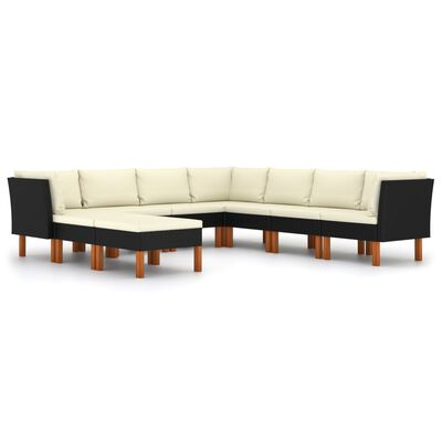vidaXL Set mobilier de grădină cu perne, 9 piese, negru, poliratan