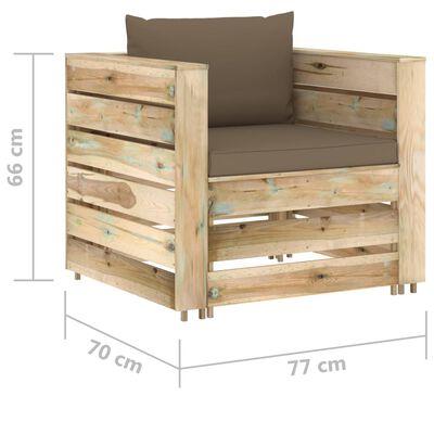 vidaXL Set mobilier grădină cu perne, 8 piese, lemn verde tratat