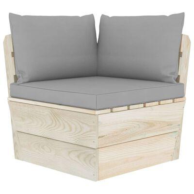 vidaXL Set mobilier grădină din paleți cu perne, 3 piese, lemn molid