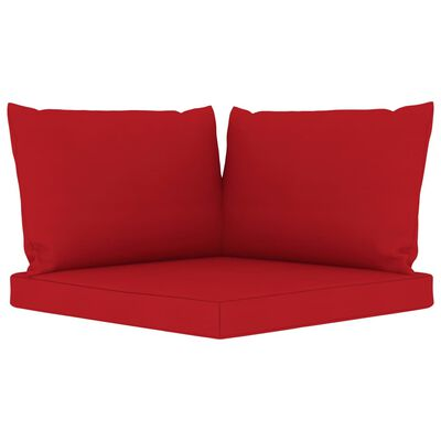 vidaXL Canapea de grădină paleți, 2 locuri, perne roșii, lemn pin