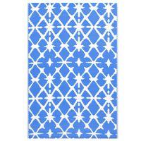 vidaXL Covor de exterior, albastru/alb, 80x150 cm, PP