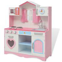 vidaXL Bucătărie de jucărie din lemn 82 x 30 x 100 cm, roz și alb