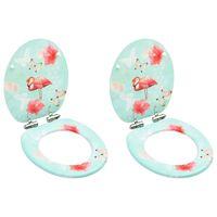 vidaXL Scaune WC cu capac silențios, 2 buc., MDF, model flamingo