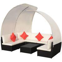 vidaXL Set mobilier de grădină cu baldachin, 9 piese, negru, poliratan