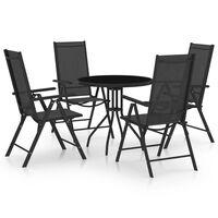 vidaXL Set mobilier de exterior, 5 piese, negru, aluminiu și textilenă