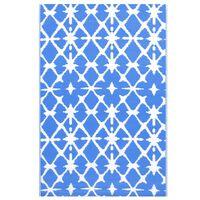 vidaXL Covor de exterior, albastru/alb, 120x180 cm, PP