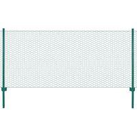 vidaXL Gard din plasă de sârmă cu stâlpi, verde, 25 x 0,5 m, oțel