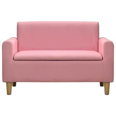 vidaXL Canapea pentru copii cu 2 locuri, roz, piele ecologică