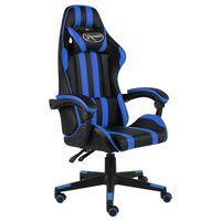 vidaXL Scaun de racing, negru și albastru, piele ecologică