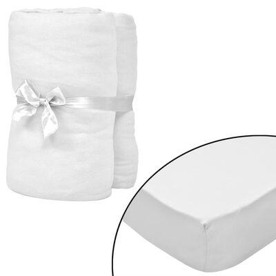 vidaXL Cearșafuri cu elastic pătuț 4 buc alb jerseu bumbac 70x140 cm