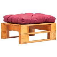 vidaXL Taburet de grădină paleți cu pernă roșie, maro miere, lemn