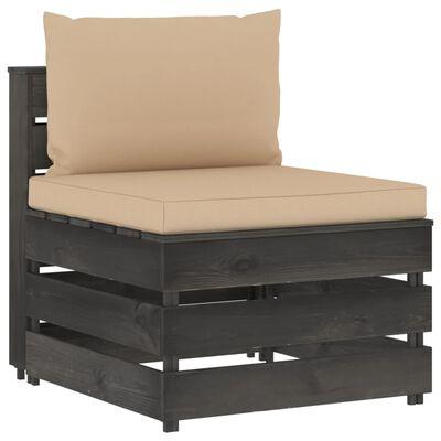 vidaXL Canapea de mijloc modulară cu perne, gri, lemn impregnat