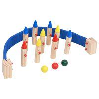 vidaXL Joc de bowling, multicolor, lemn masiv de pin