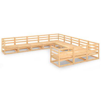vidaXL Set mobilier de grădină, 11 piese, lemn masiv de pin