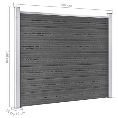vidaXL Panou de gard, negru, 180x146 cm, WPC