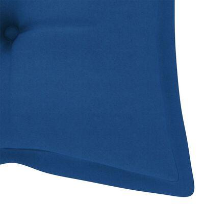 vidaXL Scaune Batavia cu perne albastre, 2 buc., lemn masiv de tec