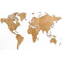 MiMi Innovations Decor perete harta lumii Exclusive, 130x78 cm, stejar