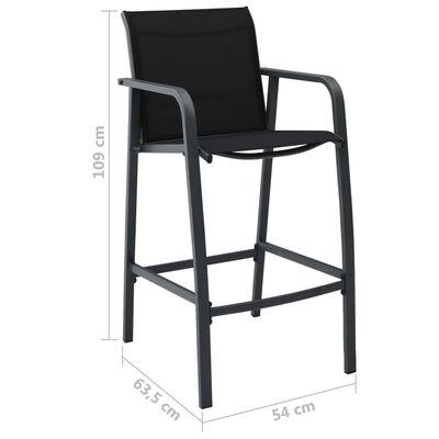 vidaXL Set mobilier de bar pentru grădină, 3 piese, negru