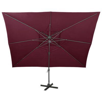 vidaXL Umbrelă suspendată cu acoperiș dublu, roșu bordo, 400x300 cm