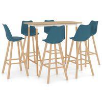 vidaXL Set mobilier de bar, 7 piese, turcoaz