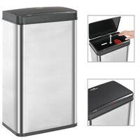 vidaXL Coș de gunoi senzor automat argintiu&negru 70 L oțel inoxidabil