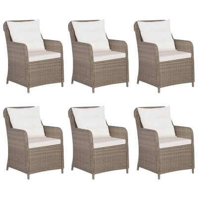 vidaXL Set mobilier pentru grădină, 7 piese, maro, poliratan