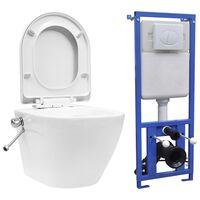 vidaXL Vas de toaletă suspendat cu rezervor încastrat, alb, ceramică