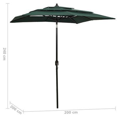 vidaXL Umbrelă de soare 3 niveluri, stâlp de aluminiu, verde, 2x2 m