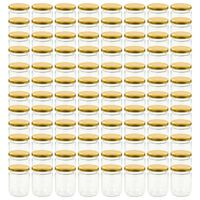 vidaXL Borcane din sticlă pentru gem, capace aurii, 96 buc., 230 ml
