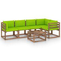 vidaXL Set mobilier grădină paleți, cu perne, 6 piese, lemn pin tratat