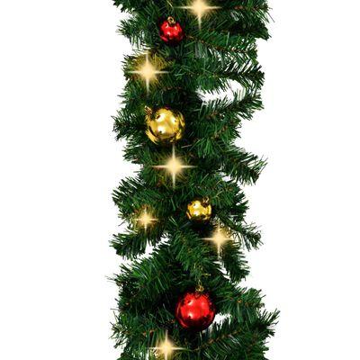 vidaXL Ghirlandă de Crăciun decorată cu globuri și becuri LED, 20 m