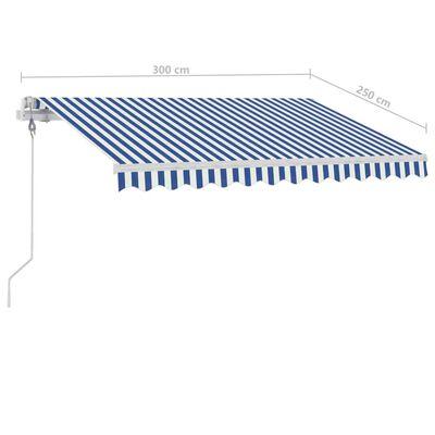 vidaXL Copertină autonomă retractabilă automat albastru&alb 300x250 cm