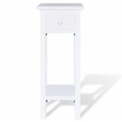 vidaXL Masă laterală cu sertar, alb