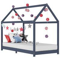 vidaXL Cadru de pat pentru copii, gri, 80 x 160 cm, lemn masiv de pin