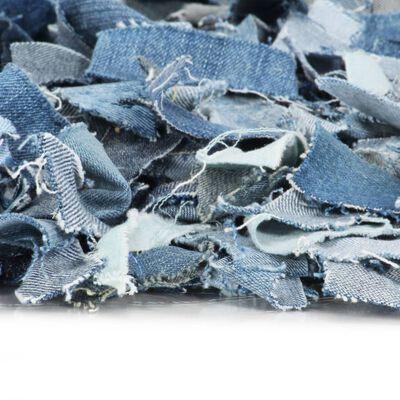 vidaXL Covor fire lungi, albastru, 120x170 cm, denim