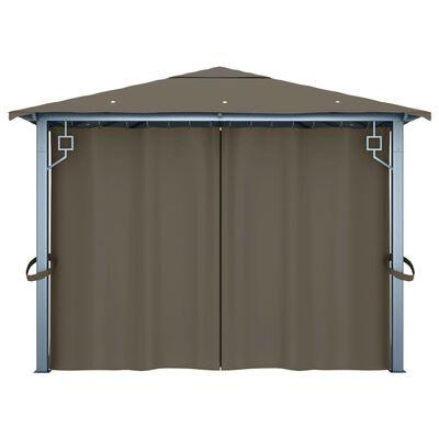 vidaXL Pavilion cu perdele&șiruri lumini gri taupe 400x300 cm aluminiu, Taupe