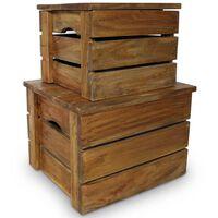 vidaXL Set cutii de depozitare 2 bucăți, lemn masiv reciclat