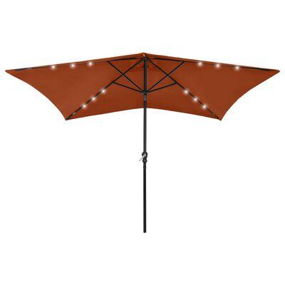 vidaXL Umbrelă de soare cu LED-uri & stâlp din oțel, cărămiziu, 2x3 m