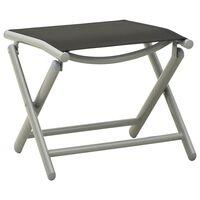 vidaXL Taburet pliabil, negru și argintiu, aluminiu și textilenă