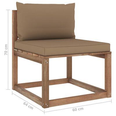 vidaXL Set mobilier grădină paleți, cu perne, 3 piese, lemn pin tratat